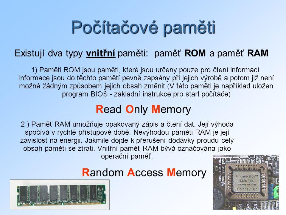 20 Počítačové paměti Random Access Memory Existují dva typy vnitřní paměti: paměť ROM a paměť RAM 1) Paměti ROM jsou paměti, které jsou určeny pouze pro čtení informací.