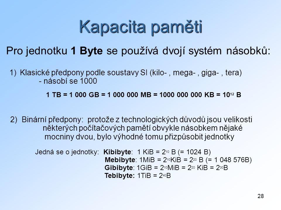 28 Kapacita paměti 2) Binární předpony: protože z technologických důvodů jsou velikosti některých počítačových pamětí obvykle násobkem nějaké mocniny dvou, bylo výhodné tomu přizpůsobit jednotky Pro jednotku 1 Byte se používá dvojí systém násobků: 1)Klasické předpony podle soustavy SI (kilo-, mega-, giga-, tera) - násobí se 1000 1 TB = 1 000 GB = 1 000 000 MB = 1000 000 000 KB = 10 12 B Jedná se o jednotky: Kibibyte: 1 KiB = 2 10 B (= 1024 B) Mebibyte: 1MiB = 2 10 KiB = 2 20 B (= 1 048 576B) Gibibyte: 1GiB = 2 10 MiB = 2 20 KiB = 2 30 B Tebibyte: 1TiB = 2 40 B