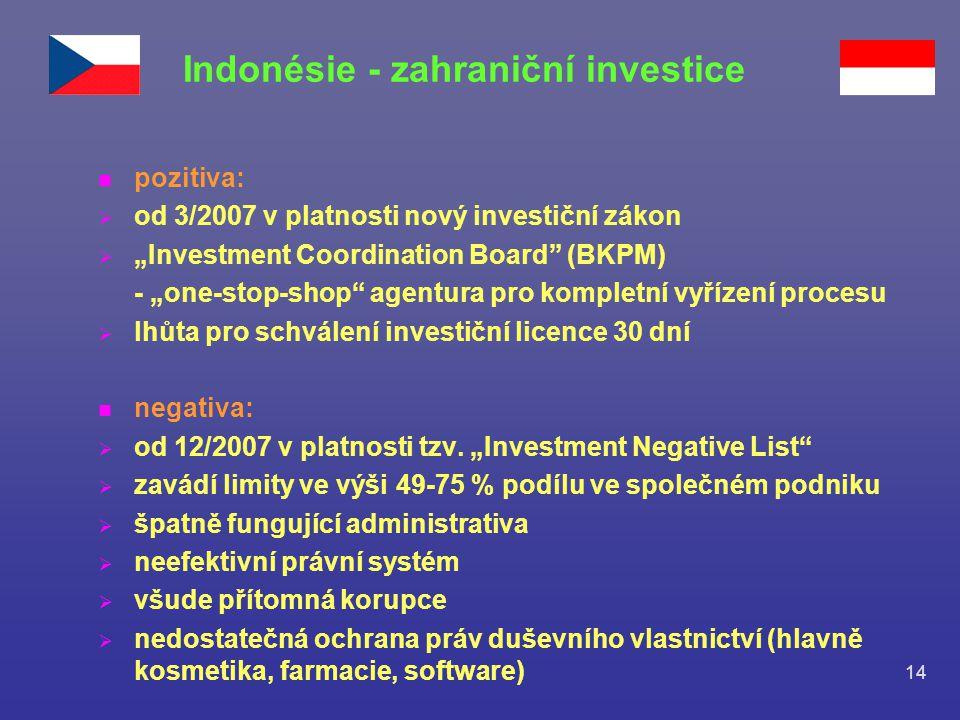 """14 n pozitiva:  od 3/2007 v platnosti nový investiční zákon  """"Investment Coordination Board"""" (BKPM) - """"one-stop-shop"""" agentura pro kompletní vyřízen"""