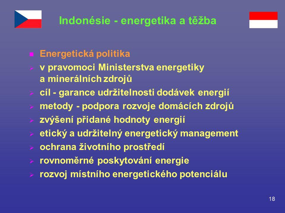 18 n Energetická politika  v pravomoci Ministerstva energetiky a minerálních zdrojů  cíl - garance udržitelnosti dodávek energií  metody - podpora