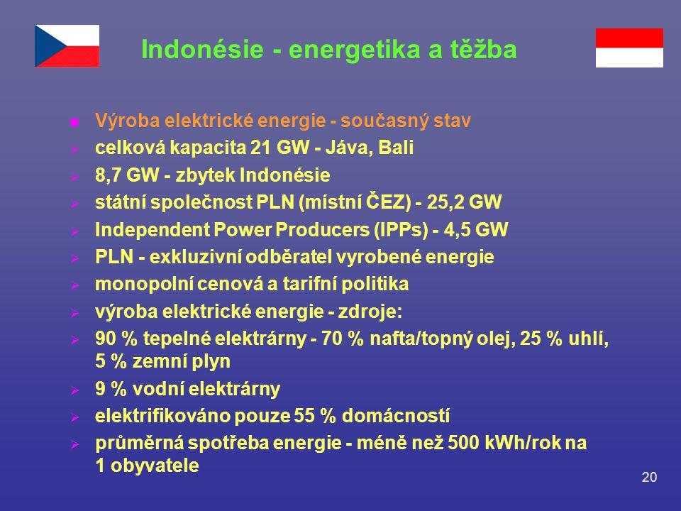 20 n Výroba elektrické energie - současný stav  celková kapacita 21 GW - Jáva, Bali  8,7 GW - zbytek Indonésie  státní společnost PLN (místní ČEZ)