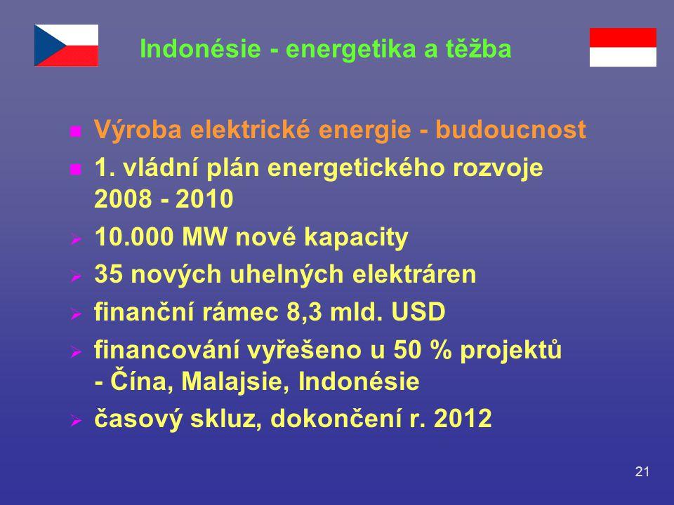 21 n Výroba elektrické energie - budoucnost n 1. vládní plán energetického rozvoje 2008 - 2010  10.000 MW nové kapacity  35 nových uhelných elektrár