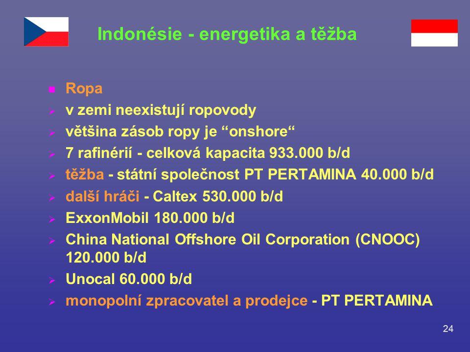 """24 n Ropa  v zemi neexistují ropovody  většina zásob ropy je """"onshore""""  7 rafinérií - celková kapacita 933.000 b/d  těžba - státní společnost PT P"""
