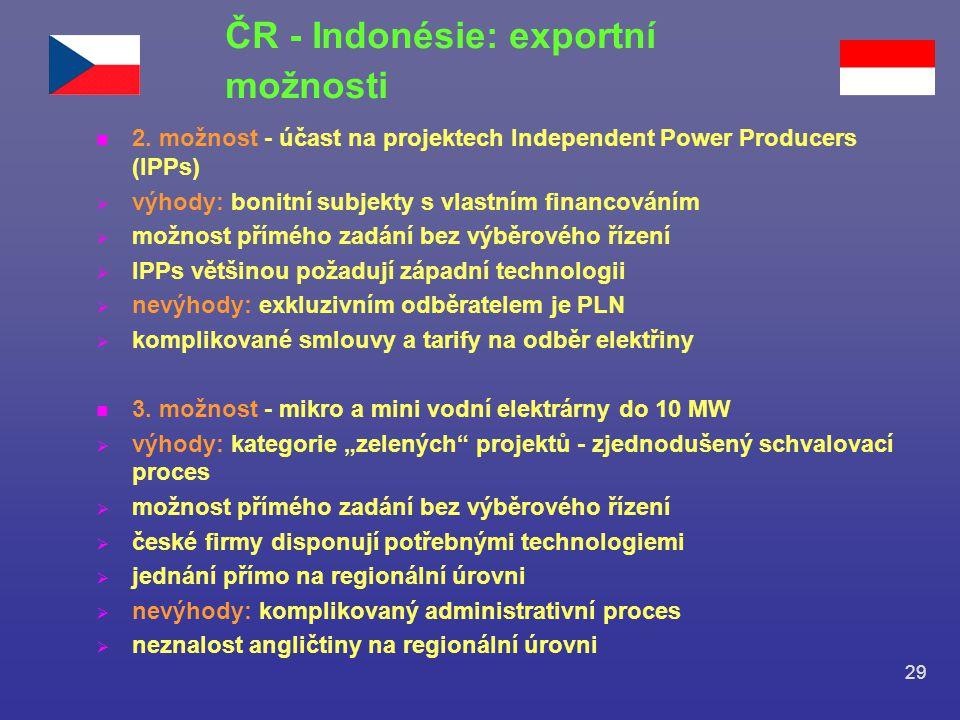 29 n 2. možnost - účast na projektech Independent Power Producers (IPPs)  výhody: bonitní subjekty s vlastním financováním  možnost přímého zadání b