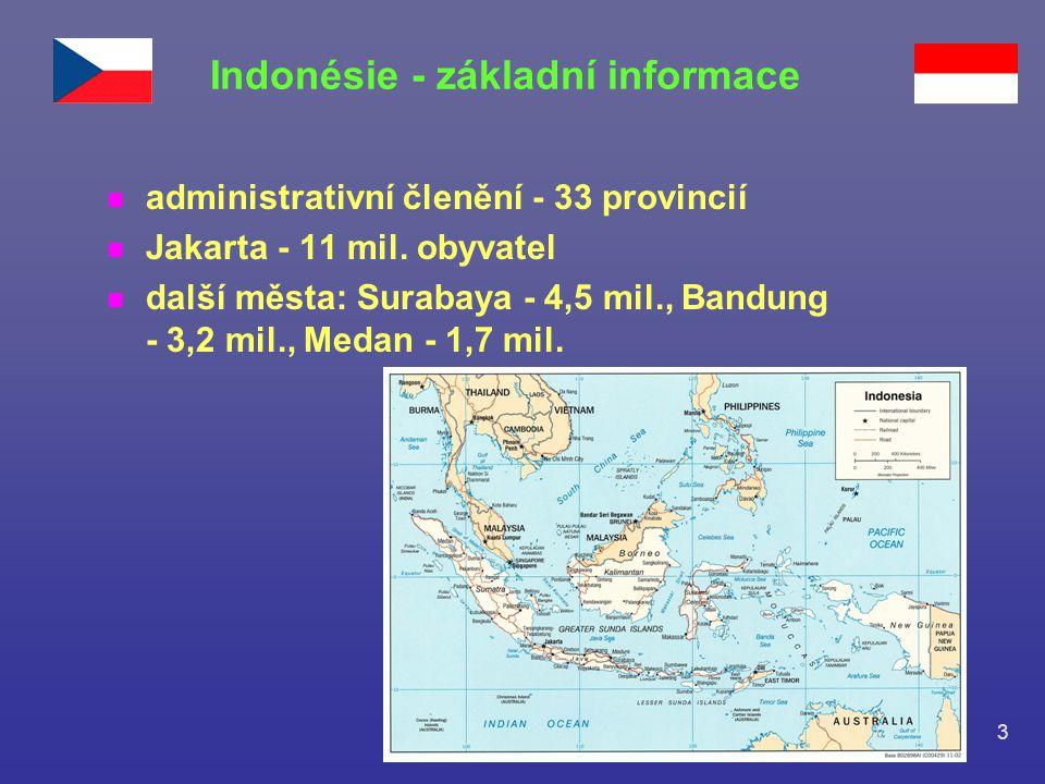 3 n administrativní členění - 33 provincií n Jakarta - 11 mil. obyvatel n další města: Surabaya - 4,5 mil., Bandung - 3,2 mil., Medan - 1,7 mil. Indon