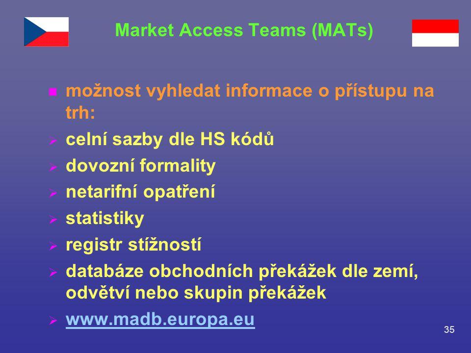 35 n možnost vyhledat informace o přístupu na trh:  celní sazby dle HS kódů  dovozní formality  netarifní opatření  statistiky  registr stížností