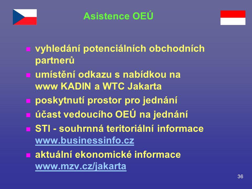36 n vyhledání potenciálních obchodních partnerů n umístění odkazu s nabídkou na www KADIN a WTC Jakarta n poskytnutí prostor pro jednání n účast vedo