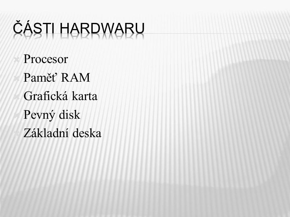  Procesor  Paměť RAM  Grafická karta  Pevný disk  Základní deska