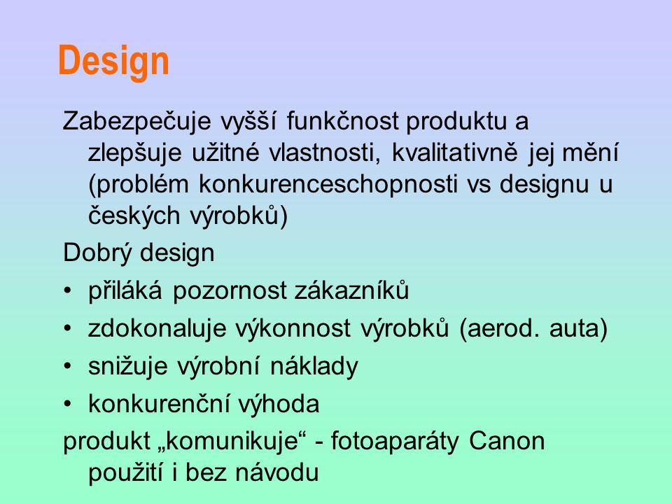 Design Zabezpečuje vyšší funkčnost produktu a zlepšuje užitné vlastnosti, kvalitativně jej mění (problém konkurenceschopnosti vs designu u českých výrobků) Dobrý design přiláká pozornost zákazníků zdokonaluje výkonnost výrobků (aerod.