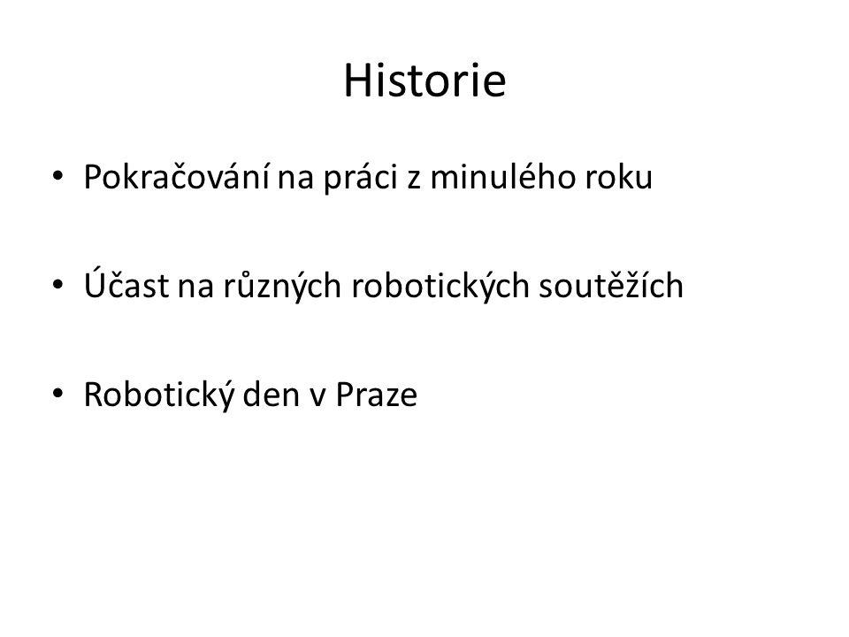Historie Pokračování na práci z minulého roku Účast na různých robotických soutěžích Robotický den v Praze