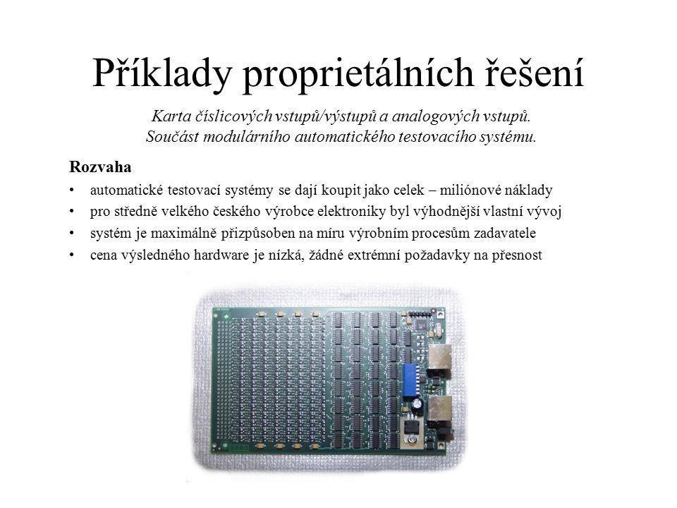Příklady proprietálních řešení Rozvaha automatické testovací systémy se dají koupit jako celek – miliónové náklady pro středně velkého českého výrobce