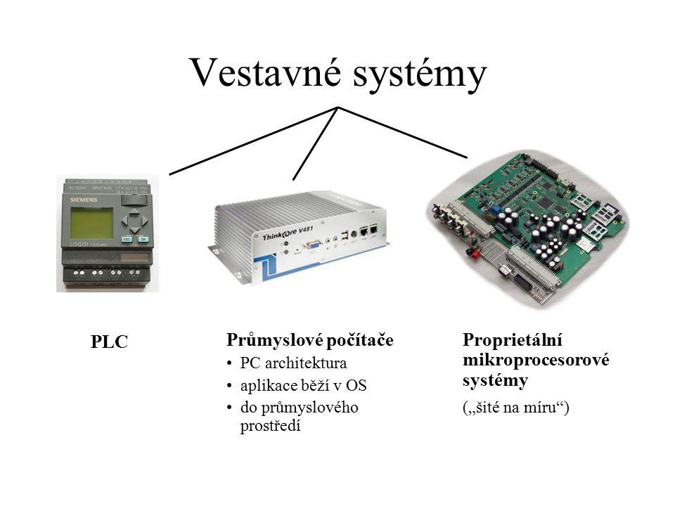 """Vestavné systémy PLC Průmyslové počítače PC architektura aplikace běží v OS do průmyslového prostředí Proprietální mikroprocesorové systémy (""""šité na"""