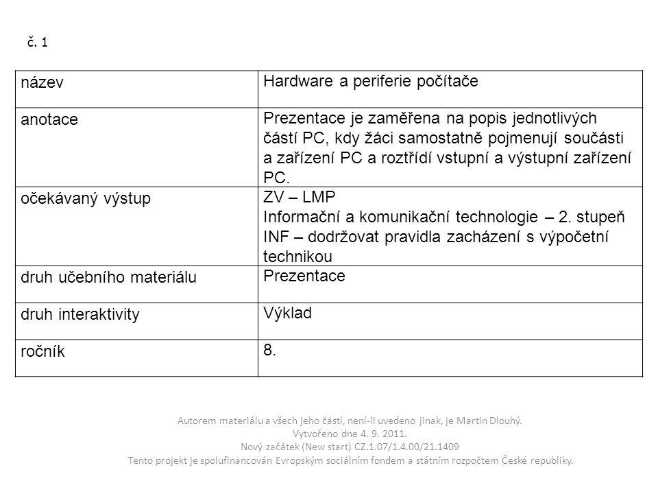 Autorem materiálu a všech jeho částí, není-li uvedeno jinak, je Martin Dlouhý. Vytvořeno dne 4. 9. 2011. Nový začátek (New start) CZ.1.07/1.4.00/21.14