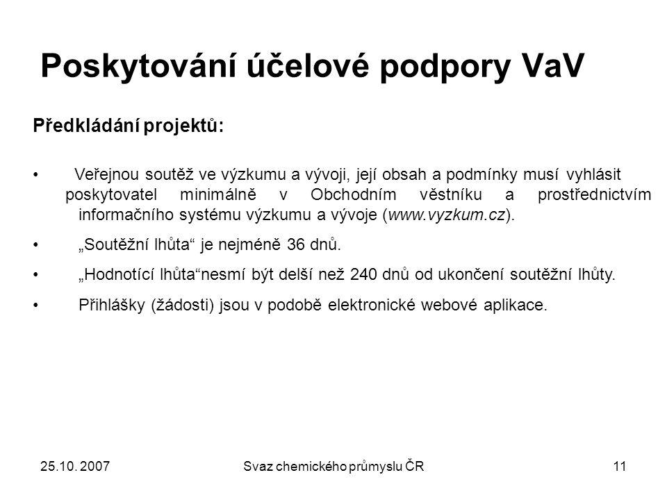 25.10. 2007Svaz chemického průmyslu ČR11 Poskytování účelové podpory VaV Předkládání projektů: Veřejnou soutěž ve výzkumu a vývoji, její obsah a podmí