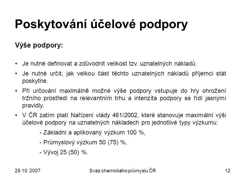 25.10. 2007Svaz chemického průmyslu ČR12 Poskytování účelové podpory Výše podpory: Je nutné definovat a zdůvodnit velikost tzv. uznatelných nákladů. J