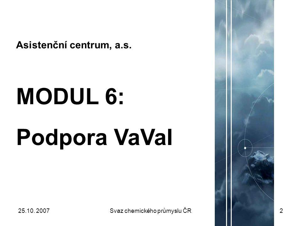 25.10. 2007Svaz chemického průmyslu ČR2 Asistenční centrum, a.s. MODUL 6: Podpora VaVaI