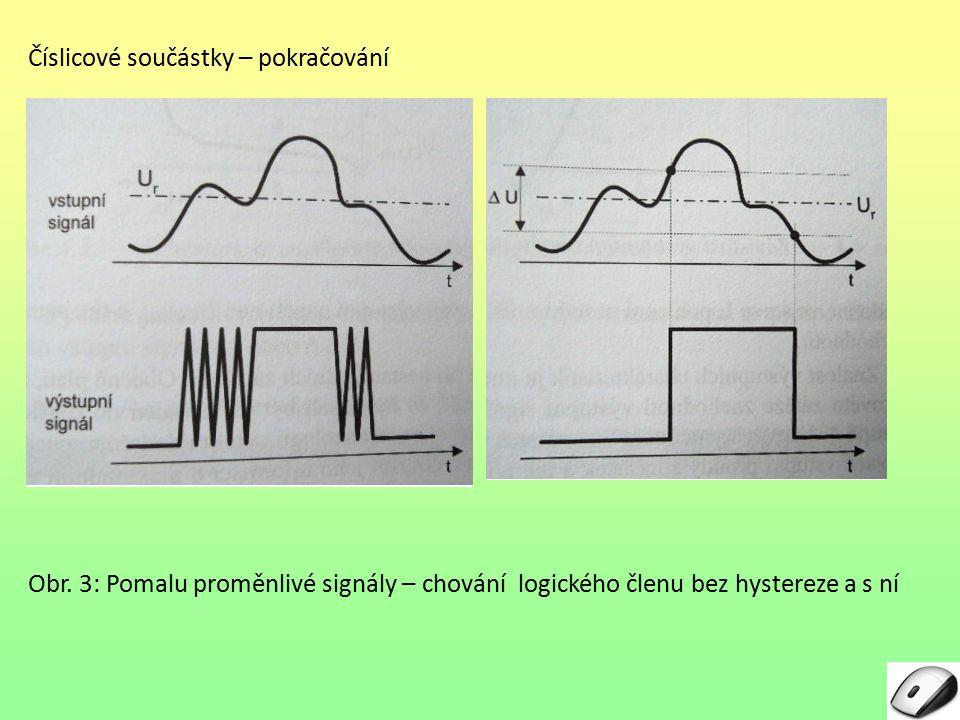 Číslicové součástky – pokračování Obr. 3: Pomalu proměnlivé signály – chování logického členu bez hystereze a s ní