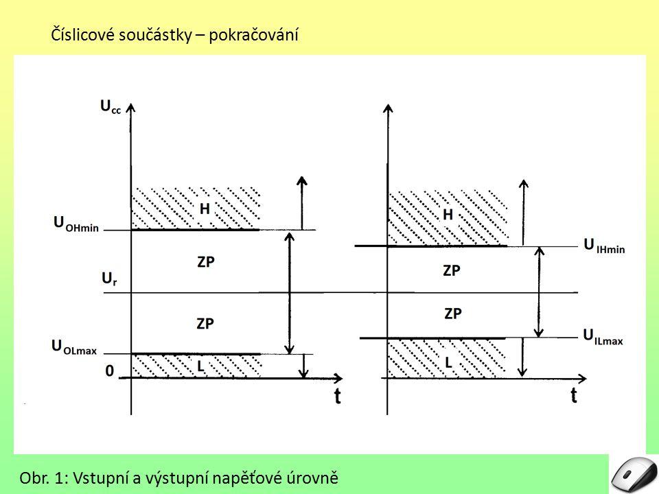 Číslicové součástky – pokračování Obr. 1: Vstupní a výstupní napěťové úrovně
