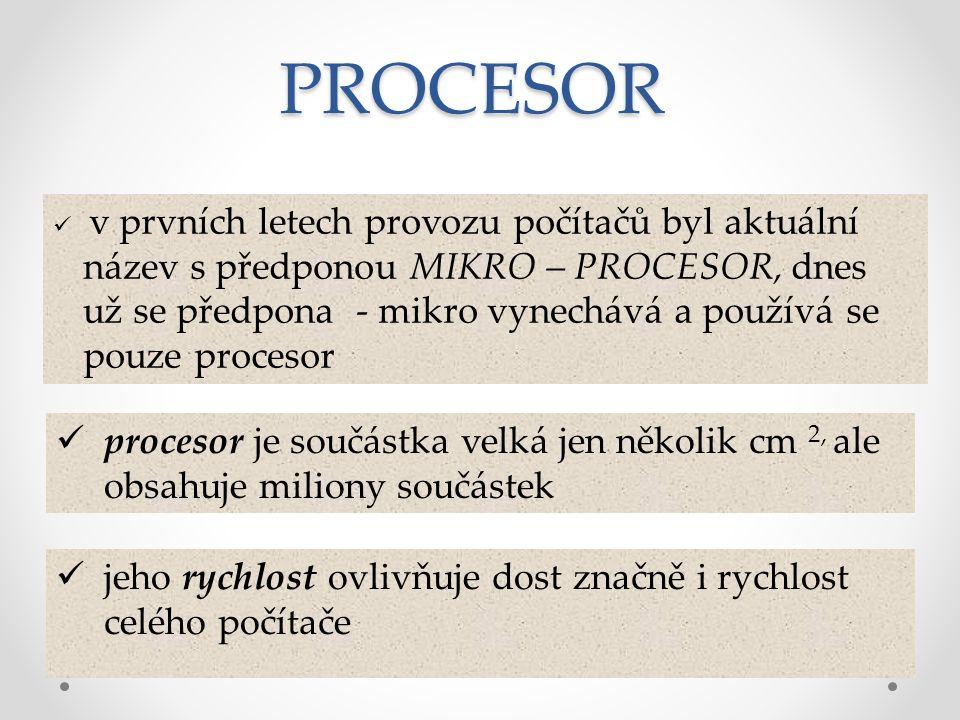 je umístěn na základní desce v tzv.patici procesoru výkon procesoru vykazuje tzv.