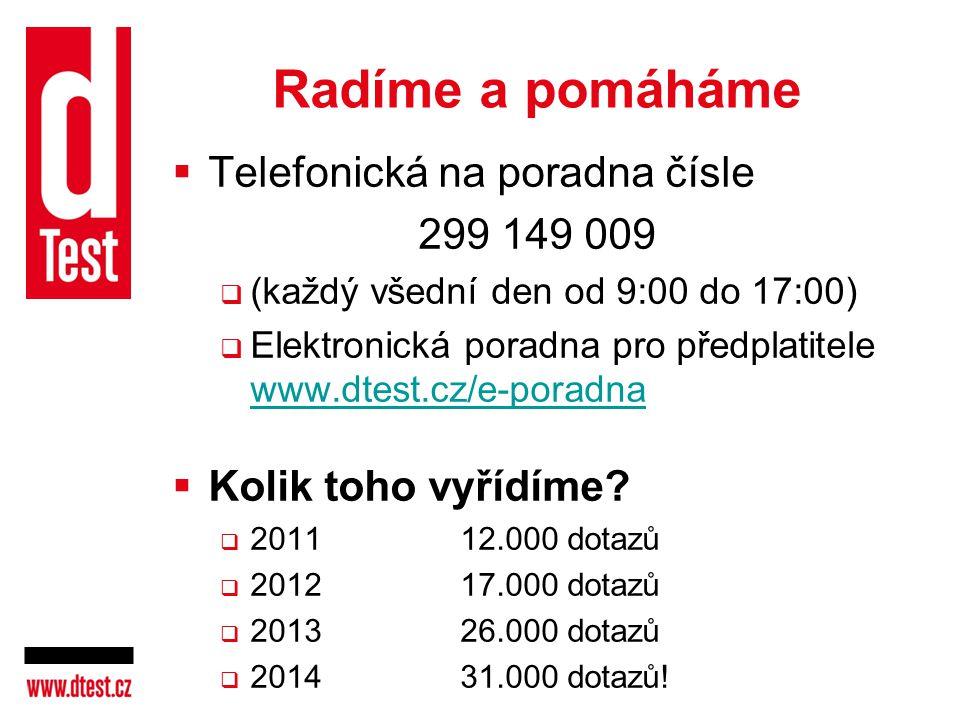 Radíme a pomáháme  Telefonická na poradna čísle 299 149 009  (každý všední den od 9:00 do 17:00)  Elektronická poradna pro předplatitele www.dtest.