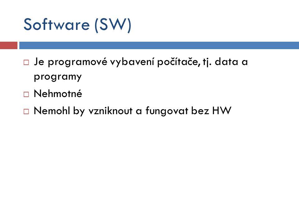 Software (SW)  Je programové vybavení počítače, tj. data a programy  Nehmotné  Nemohl by vzniknout a fungovat bez HW
