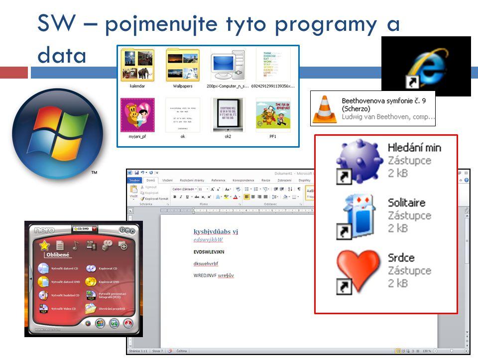 SW – pojmenujte tyto programy a data