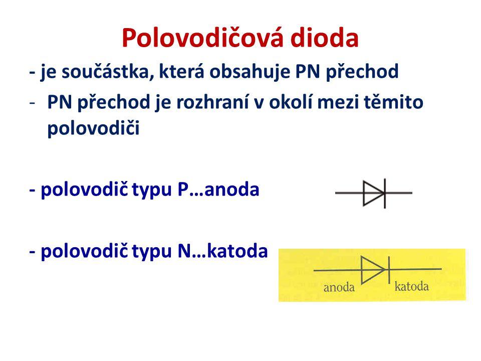 Polovodičová dioda - je součástka, která obsahuje PN přechod -PN přechod je rozhraní v okolí mezi těmito polovodiči - polovodič typu P…anoda - polovodič typu N…katoda