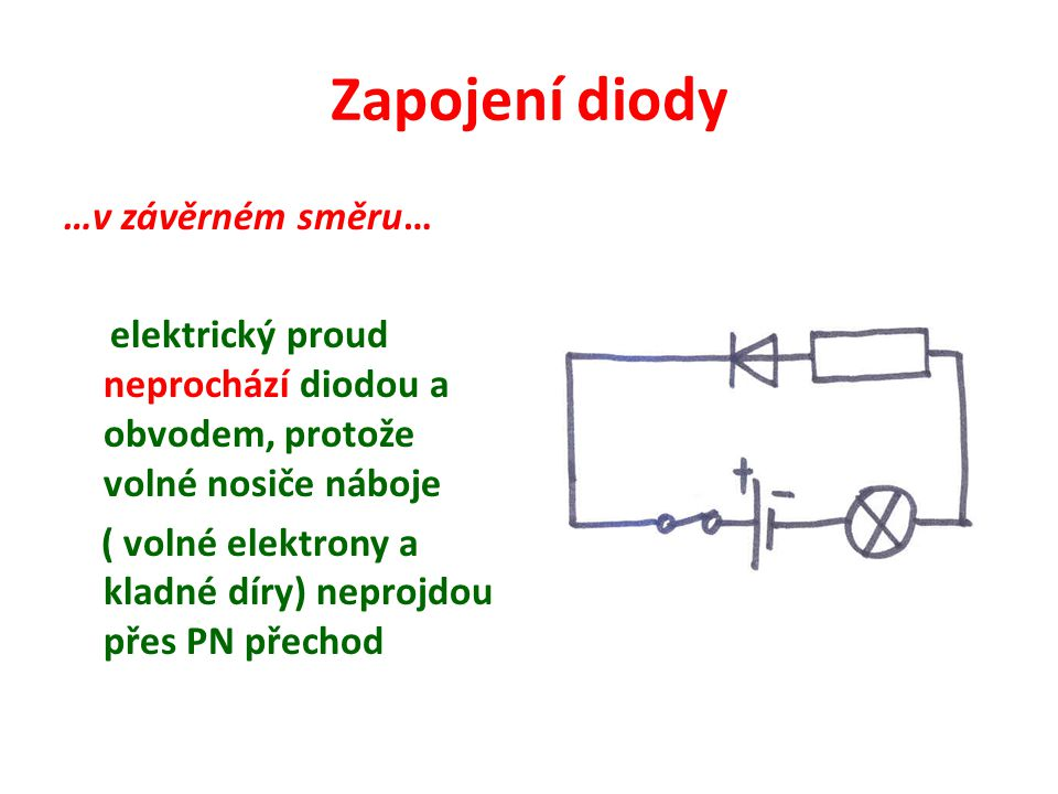 Zapojení diody …v závěrném směru… elektrický proud neprochází diodou a obvodem, protože volné nosiče náboje ( volné elektrony a kladné díry) neprojdou přes PN přechod