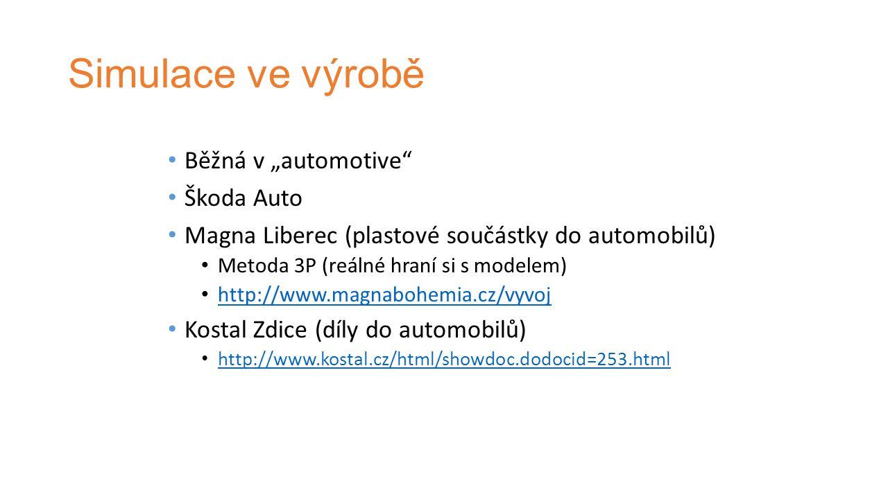 """Simulace ve výrobě Běžná v """"automotive Škoda Auto Magna Liberec (plastové součástky do automobilů) Metoda 3P (reálné hraní si s modelem) http://www.magnabohemia.cz/vyvoj Kostal Zdice (díly do automobilů) http://www.kostal.cz/html/showdoc.dodocid=253.html"""