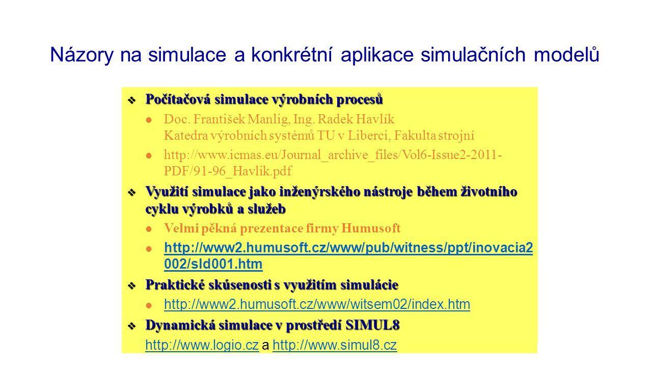 Názory na simulace a konkrétní aplikace simulačních modelů  Počítačová simulace výrobních procesů Dr. ing. František Manlig Katedra výrobních systémů