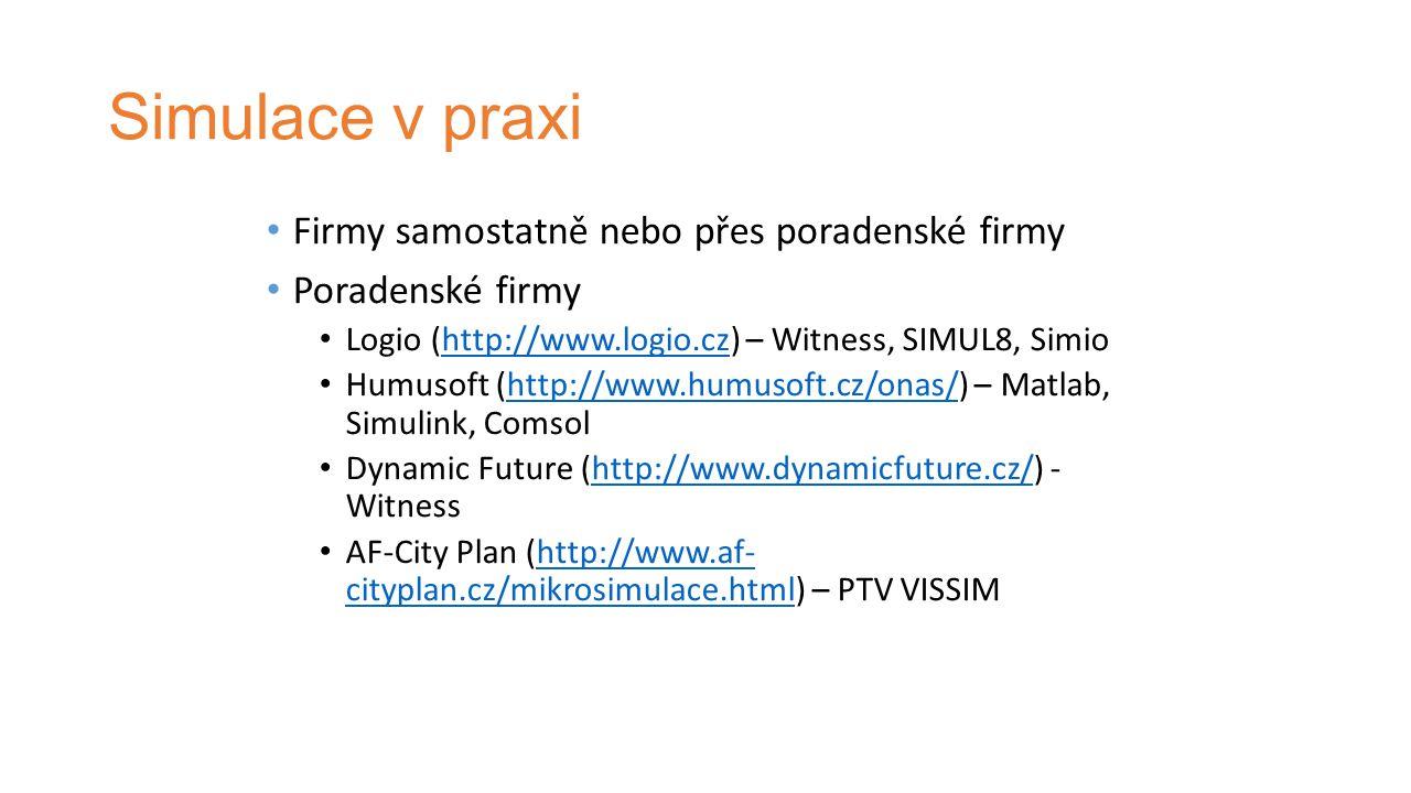 Simulace v praxi Firmy samostatně nebo přes poradenské firmy Poradenské firmy Logio (http://www.logio.cz) – Witness, SIMUL8, Simiohttp://www.logio.cz