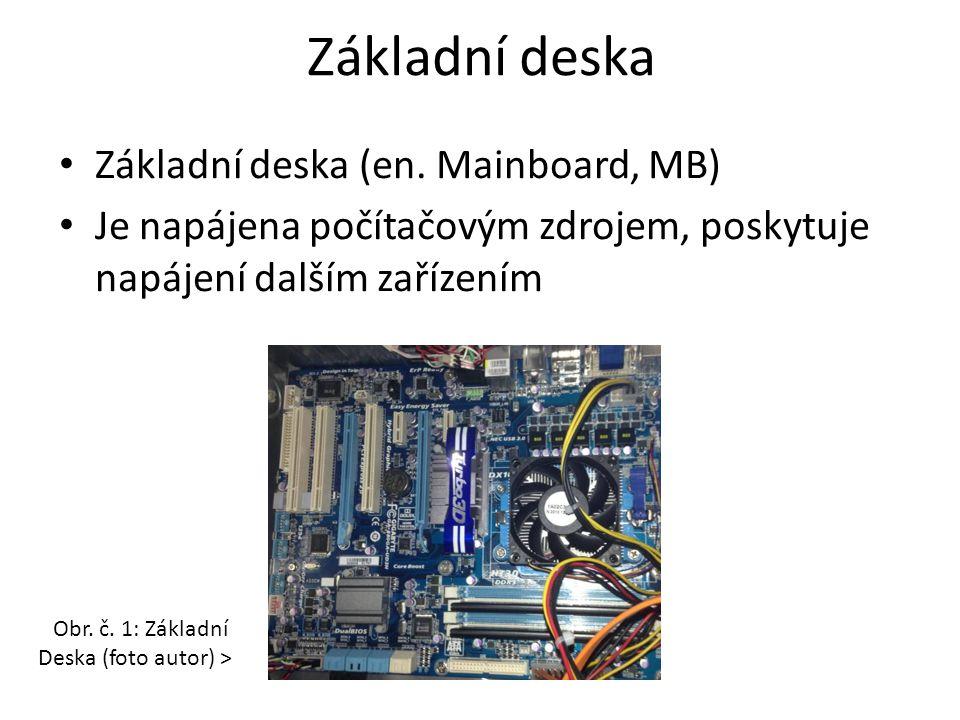 Rozhraní základní desky Propojuje jednotlivé součástky uvnitř počítače – Procesor – připojen přes PATICI (SOCKET) – Operační paměť – připojena přes SBĚRNICI – Rozšiřující sloty – umožňují připojení dalších zařízení (grafická karta, síťová karta, televizní karta, zvuková karta...) Zařízení mohou být integrována do základní desky, jsou její součástí – Zvuková karta, grafická karta, síťová karta