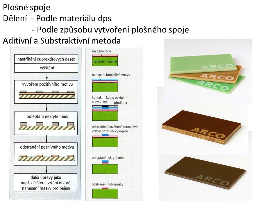Plošné spoje Dělení - Podle materiálu dps - Podle způsobu vytvoření plošného spoje Aditivní a Substraktivní metoda