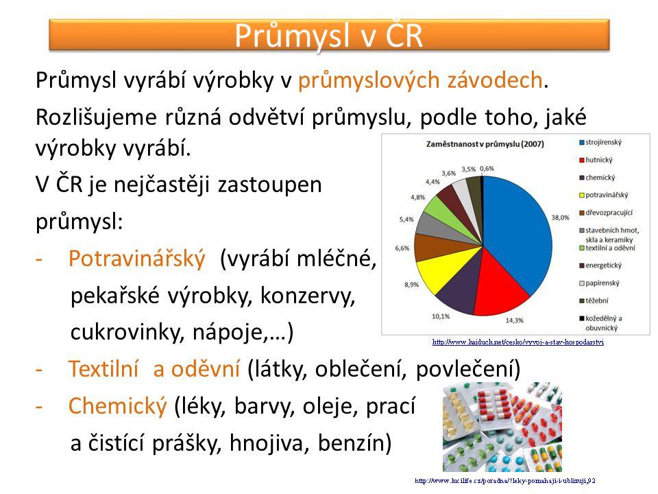 Průmysl v ČR Průmysl vyrábí výrobky v průmyslových závodech. Rozlišujeme různá odvětví průmyslu, podle toho, jaké výrobky vyrábí. V ČR je nejčastěji z