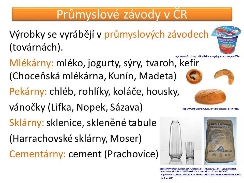 Průmyslové závody v ČR Výrobky se vyrábějí v průmyslových závodech (továrnách). Mlékárny: mléko, jogurty, sýry, tvaroh, kefír (Choceňská mlékárna, Kun