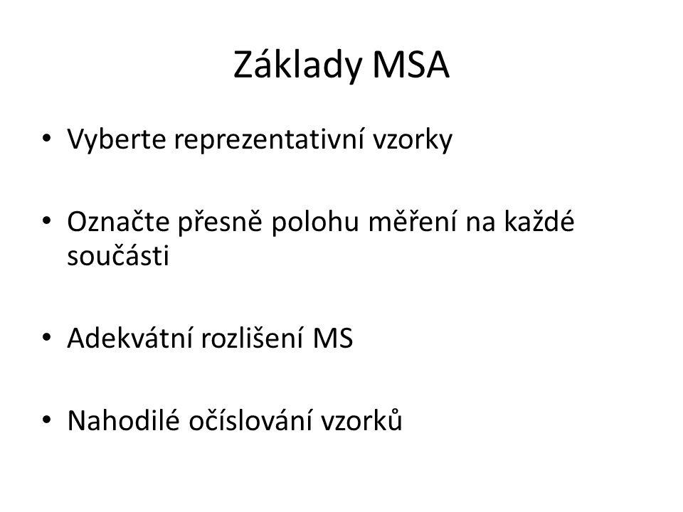 Základy MSA Vyberte reprezentativní vzorky Označte přesně polohu měření na každé součásti Adekvátní rozlišení MS Nahodilé očíslování vzorků