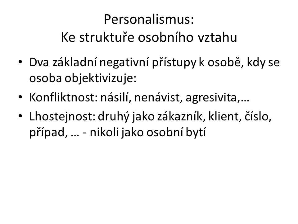 Personalismus: Ke struktuře osobního vztahu Dva základní negativní přístupy k osobě, kdy se osoba objektivizuje: Konfliktnost: násilí, nenávist, agresivita,… Lhostejnost: druhý jako zákazník, klient, číslo, případ, … - nikoli jako osobní bytí