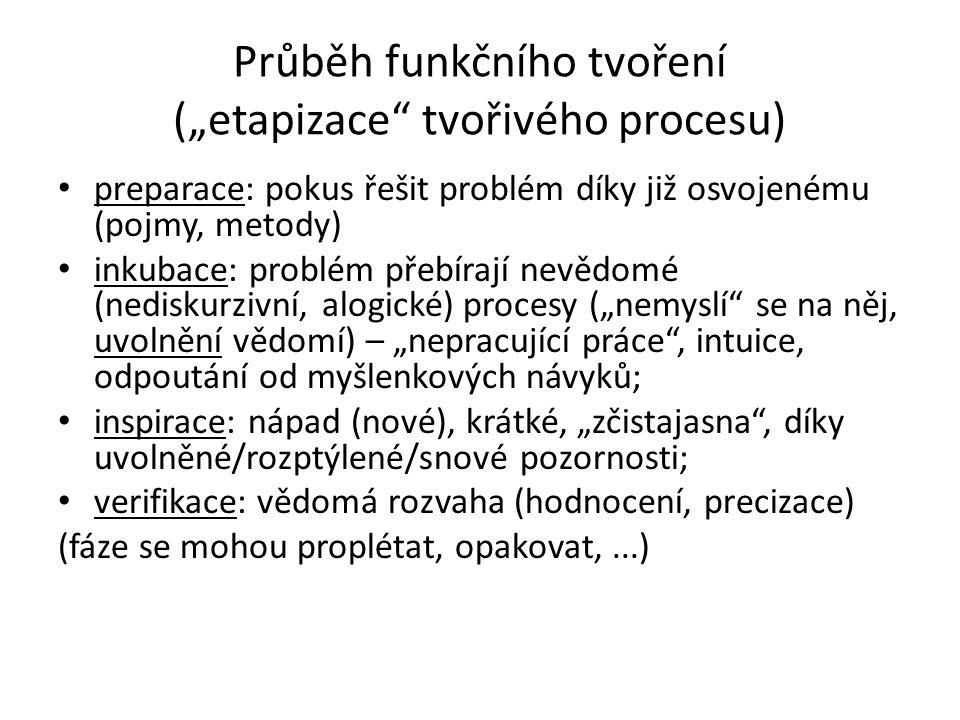 """Průběh funkčního tvoření (""""etapizace tvořivého procesu) preparace: pokus řešit problém díky již osvojenému (pojmy, metody) inkubace: problém přebírají nevědomé (nediskurzivní, alogické) procesy (""""nemyslí se na něj, uvolnění vědomí) – """"nepracující práce , intuice, odpoutání od myšlenkových návyků; inspirace: nápad (nové), krátké, """"zčistajasna , díky uvolněné/rozptýlené/snové pozornosti; verifikace: vědomá rozvaha (hodnocení, precizace) (fáze se mohou proplétat, opakovat,...)"""