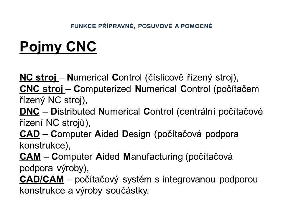 Pojmy CNC NC stroj – Numerical Control (číslicově řízený stroj), CNC stroj – Computerized Numerical Control (počítačem řízený NC stroj), DNC – Distributed Numerical Control (centrální počítačové řízení NC strojů), CAD – Computer Aided Design (počítačová podpora konstrukce), CAM – Computer Aided Manufacturing (počítačová podpora výroby), CAD/CAM – počítačový systém s integrovanou podporou konstrukce a výroby součástky.