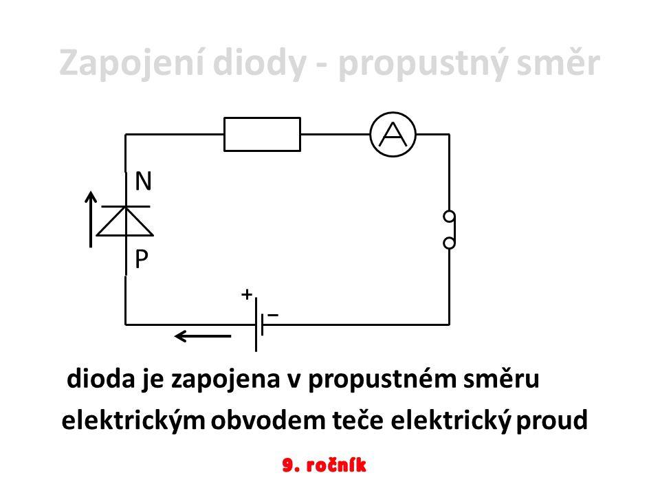 Zapojení diody - propustný směr P N elektrickým obvodem teče elektrický proud dioda je zapojena v propustném směru