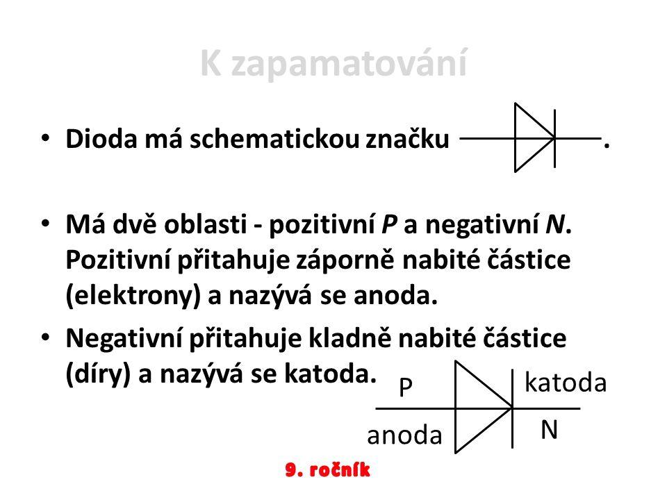 K zapamatování Dioda má schematickou značku. Má dvě oblasti - pozitivní P a negativní N. Pozitivní přitahuje záporně nabité částice (elektrony) a nazý
