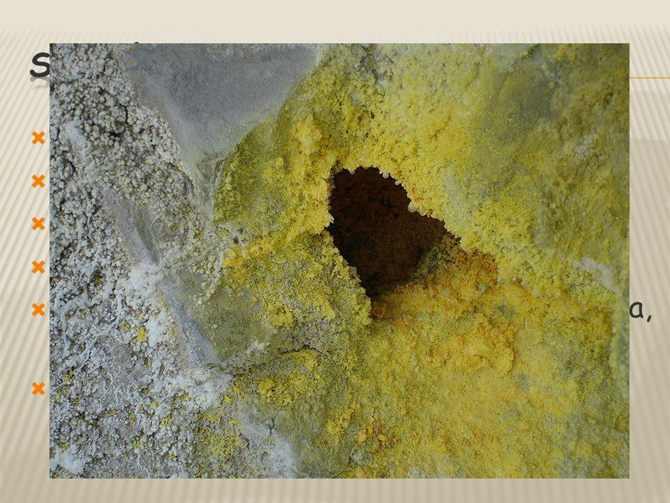  světle žlutá barva  charakteristický zápach  snadno hoří  vzniká ze sopečných par  výroba – kys. sírové, střelný prach, hnojiva, fungicidy – síř