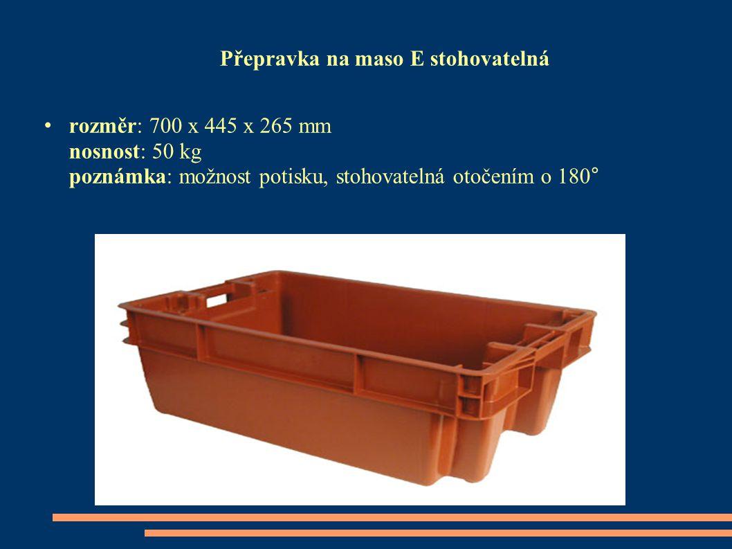 Přepravka na maso E stohovatelná rozměr: 700 x 445 x 265 mm nosnost: 50 kg poznámka: možnost potisku, stohovatelná otočením o 180°