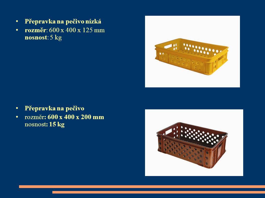 Přepravka na pečivo nízká rozměr: 600 x 400 x 125 mm nosnost: 5 kg Přepravka na pečivo rozměr: 600 x 400 x 200 mm nosnost: 15 kg