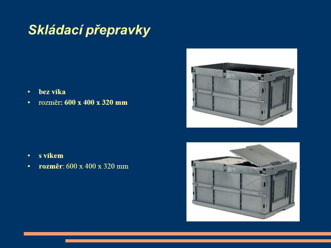 Skládací přepravky bez víka rozměr: 600 x 400 x 320 mm s víkem rozměr: 600 x 400 x 320 mm