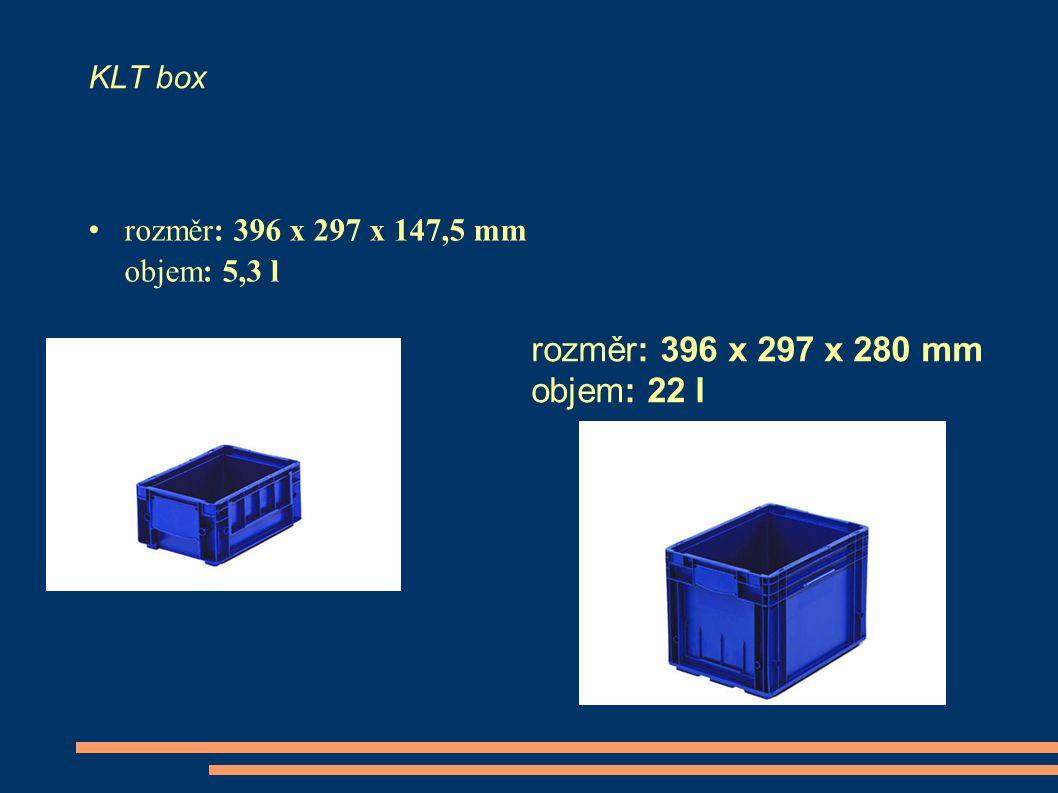 KLT box rozměr: 396 x 297 x 147,5 mm objem: 5,3 l rozměr: 396 x 297 x 280 mm objem: 22 l