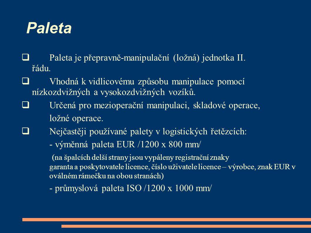 Paleta  Paleta je přepravně-manipulační (ložná) jednotka II. řádu.  Vhodná k vidlicovému způsobu manipulace pomocí nízkozdvižných a vysokozdvižných