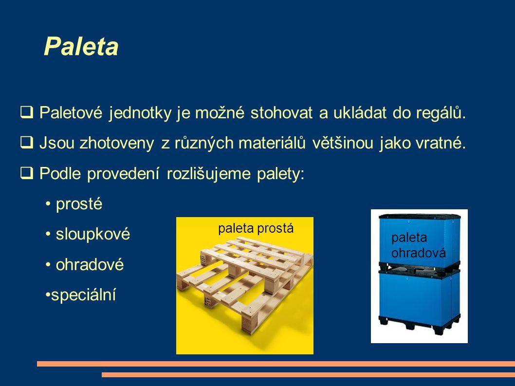 Paleta  Paletové jednotky je možné stohovat a ukládat do regálů.  Jsou zhotoveny z různých materiálů většinou jako vratné.  Podle provedení rozlišu