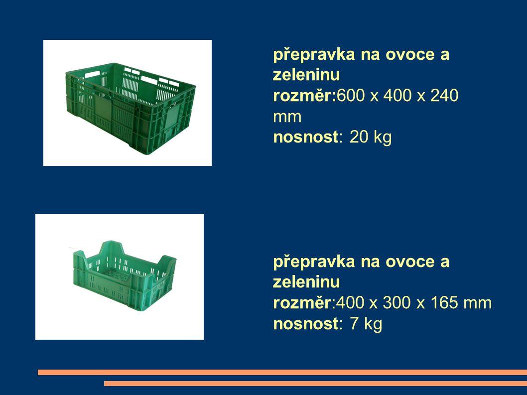 přepravka na ovoce a zeleninu rozměr:600 x 400 x 240 mm nosnost: 20 kg přepravka na ovoce a zeleninu rozměr:400 x 300 x 165 mm nosnost: 7 kg
