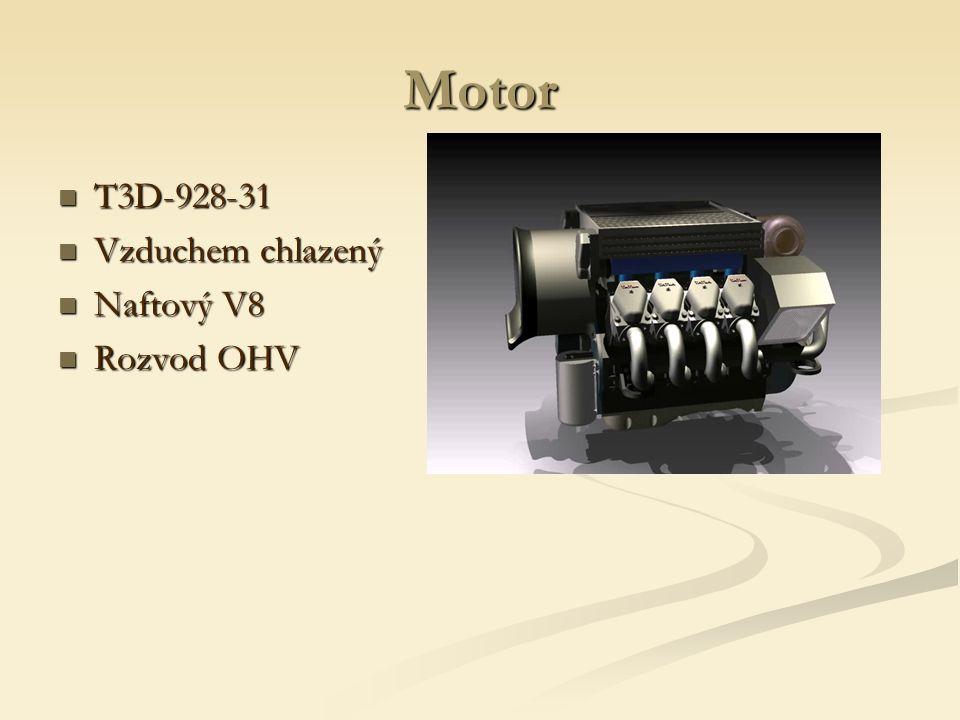 Motor T3D-928-31 T3D-928-31 Vzduchem chlazený Vzduchem chlazený Naftový V8 Naftový V8 Rozvod OHV Rozvod OHV